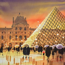 Louvre Reflections, Paris by Peter J Rodgers - Original Painting on Paper sized 20x19 inches. Available from Whitewall Galleries